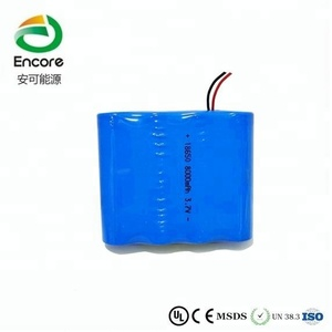18650 8000mAh 3.7V battery pack with wires and PCB protection