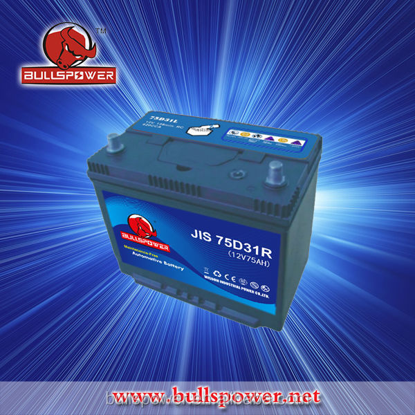 Powerful recover JIS 75D31R 12v 75ah auto car battery