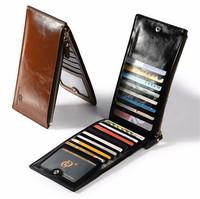 Fashion Design Cheap Long Style Zipper Men's Leather Wallet