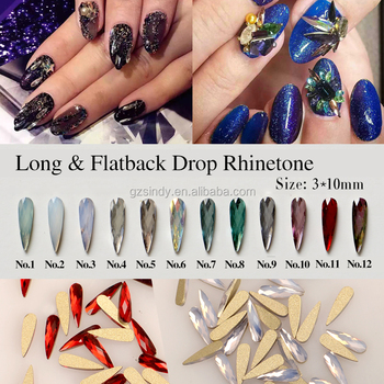New Design 3*10mm Flat Back Long Water Drop Rhinestone for nail art