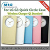 Cell phone case for LG G3 Quick Circle with NFC Wireless Charger Qi Standard Wake Up/Sleep, V-Window Side Flip PU Leather case