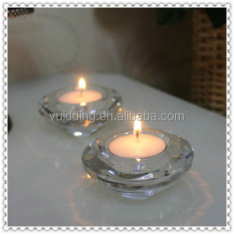 Tea Light Crystal Glass Clear Diamond Candle Holder