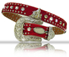 Red cowhide leather western barrel racer concho studded cheap cowgirl belts