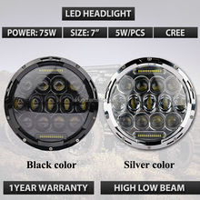 "Factory super bright 75w 7"" round led headlight hi and low beam with bracket for J eep"