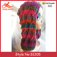 S1205 New funky color lace hand knit ladies shawl