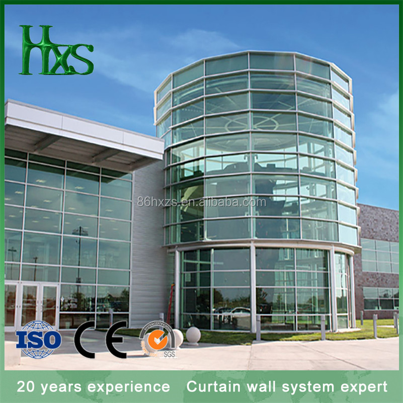 Curved double glazing glass curtain wall for house/home/hotel/cafe office