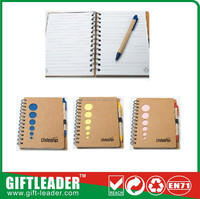 2015 cheap school/ office supplies recycled paper notebook with pen for children stationery