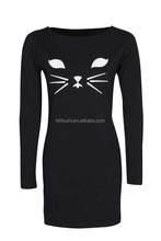 Cat face printed tight dress pattern