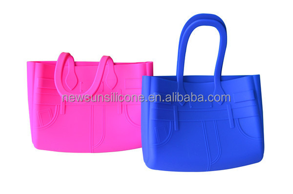 2015 hot selling beautiful ladies silicone handbag