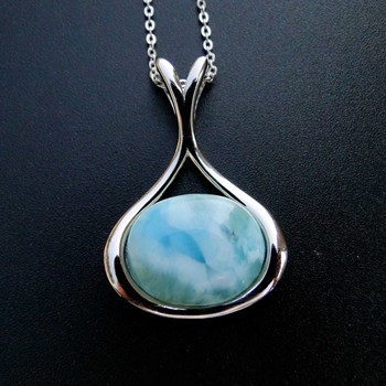 Unique 925 Sterling Silver Large Blue Dominican Larimar Gemstone Pendant