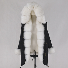 Fox fur hooded parka fur collar coat with removable fur lining