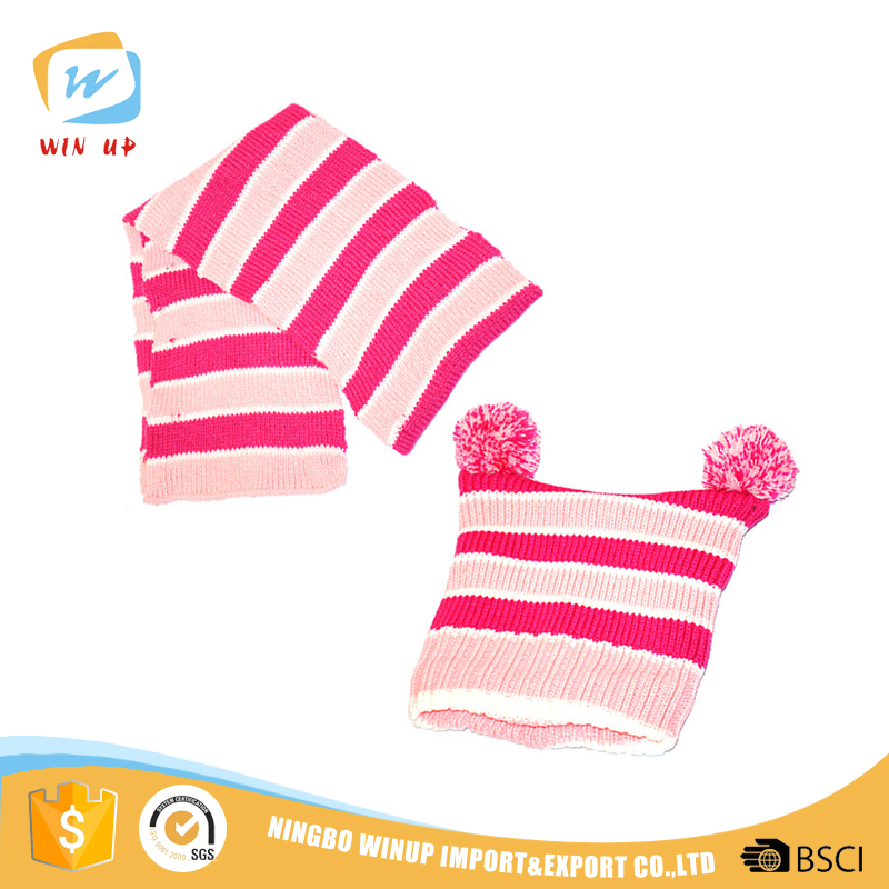 WINUP Wholesale knitted warm baby girls winter pom pom hats scarf set