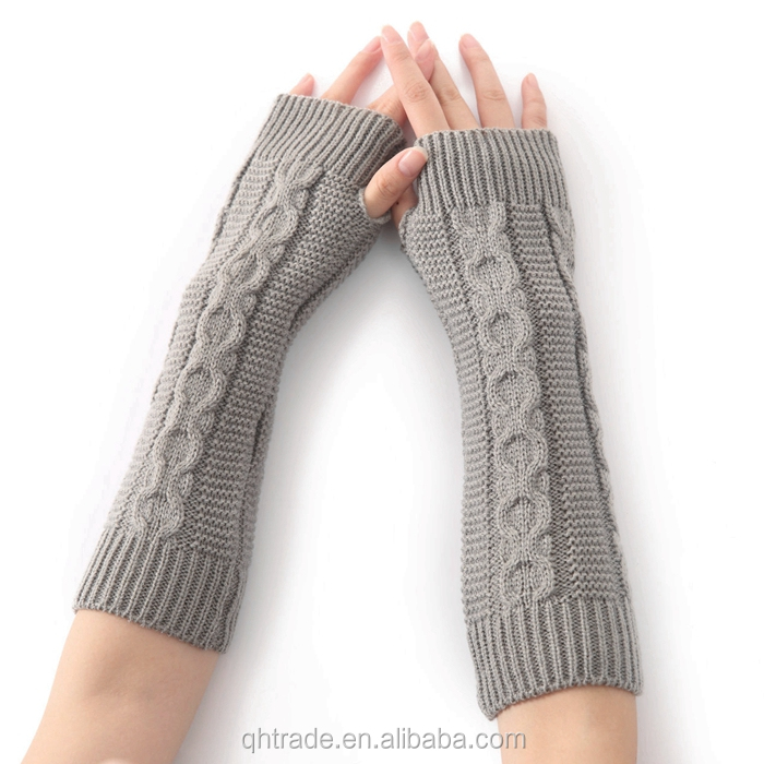 Fashion Thermal Grey Color Thick knit Fingerless Glove Mittens for women