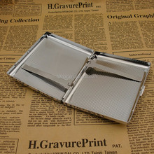 Holds 20 Cigarettes, High quality Silver Metal Stainless Steel Cigarette Case