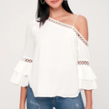 Small Quantity Latest Design Women Sexy One Shoulder Blouse with Lace Trim