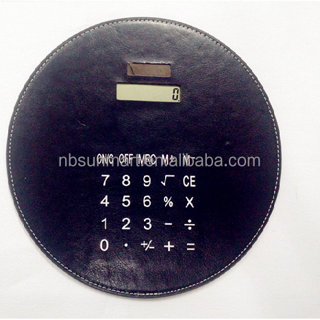 PU leather Mouse pad with solar calculator Round mouse pad