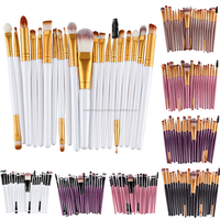 PRO MAKEUP SET KIT 20 PCS EYESHADOW EYEBROW EYELINER LIP COSMETIC SOFT BRUSHES