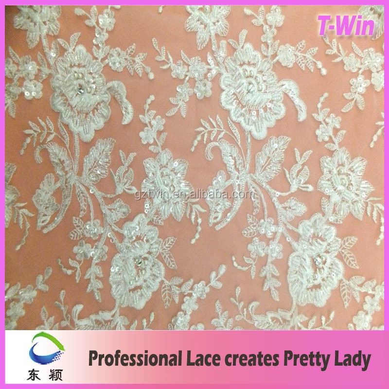 Wedding and evening beaded lace fabric/beaded embroidery designs flower lace for dress
