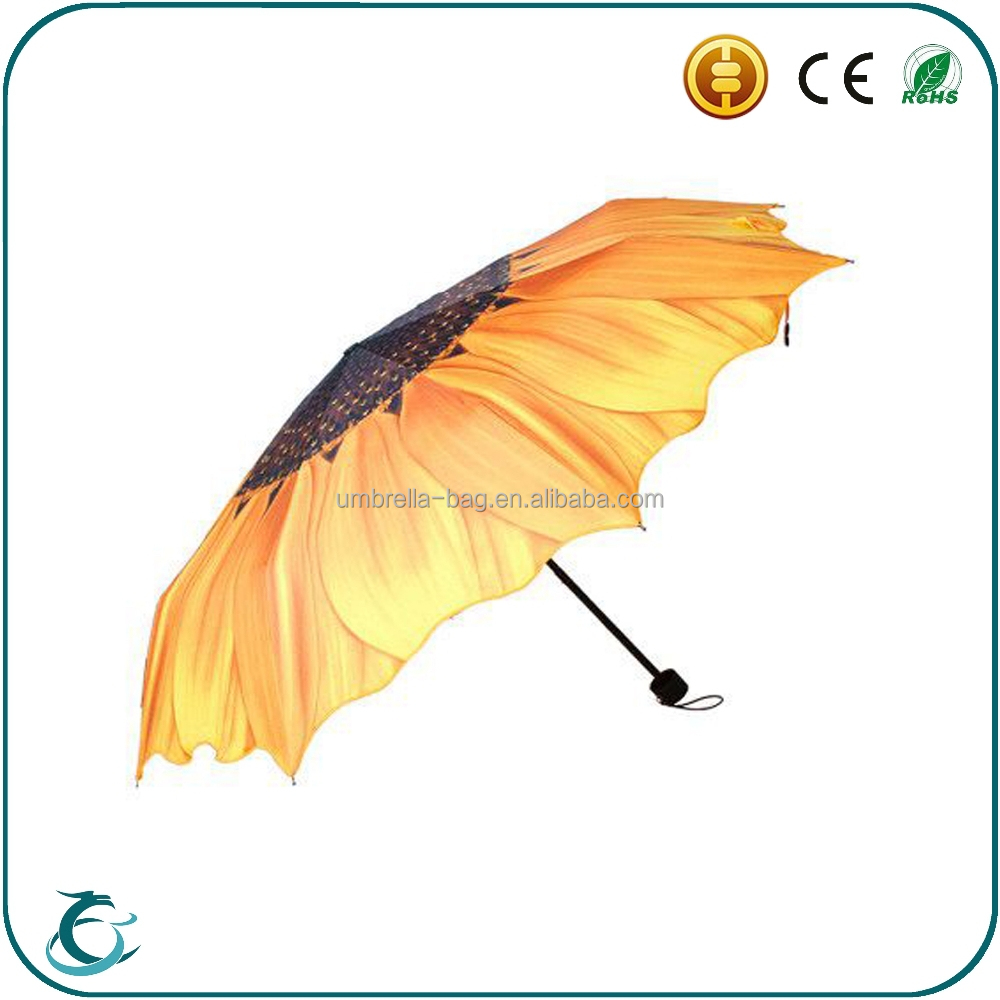 Novelty high quality sun flower print 3 folding lady umbrella promotion gift