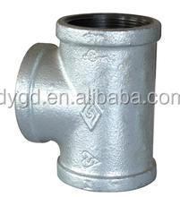 1/2'' galvanized malleable iron equal diameter tee water pipe joint plumbing pipe fitting