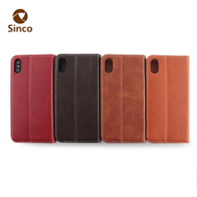 latest brown wallet card slot real leather phone case with flap flip stand leather phone case for iphone x