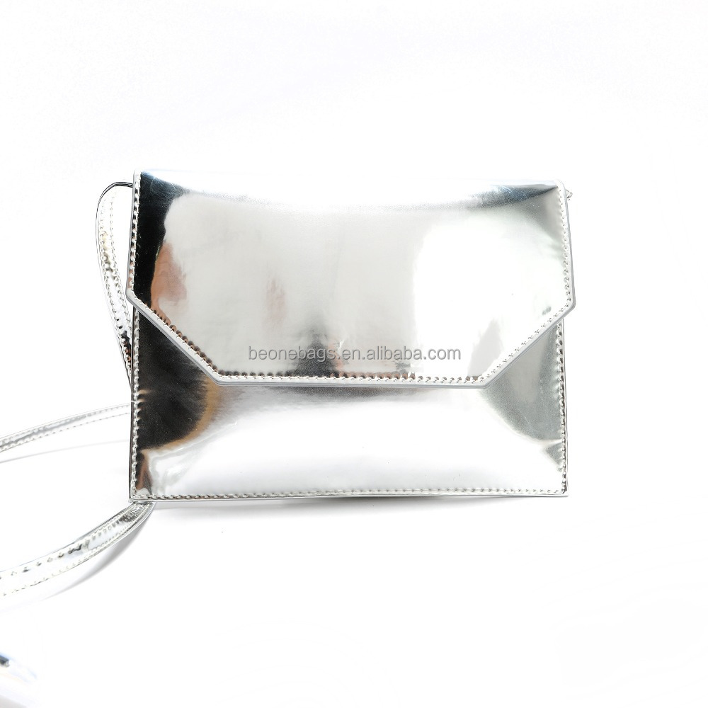 Hot selling small metallic PU leather lady shoulder bag