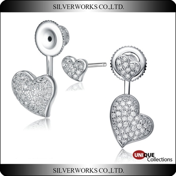 Fashion Sterling Silver Heart Love Design Earrings with crystal jewelry