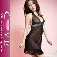 New Mature Women Open Cup Black Sexy Babydoll Lingerie Sleepwear Lace Dress With G-String
