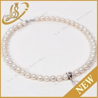 LS jewelry round natural freshwater pearl necklace