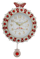 Round pendulum plastic wall clock with crystal for decor