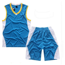 Wholesale Eyelet Fabric basketball jersey uniform design color blue