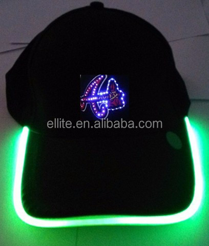 2018 year Promotional super bright multi colour flashing embroidered lighting logo cotton led hat