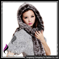 CX-C-17F 2016 New Style Knitted Rex Rabbit Fur One Piece Scarf Hat