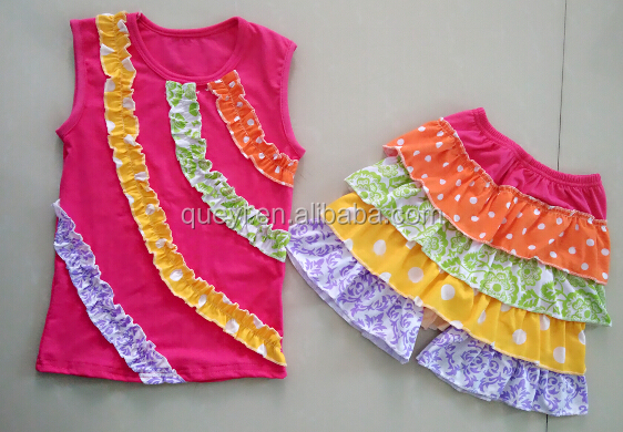 2016 short sleeve tops ruffle shorts set bangkok manufactures children clothes wholesale kids clothing kids clothes set