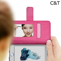 C&T Mirror Design Credit Card Slot Wallet PU Leather Cover Protective Hard Case for Apple iPhone 6