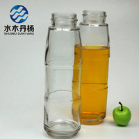 wholesale 500ml cylinder round fruit juice beverage drinking glass bottle with decal