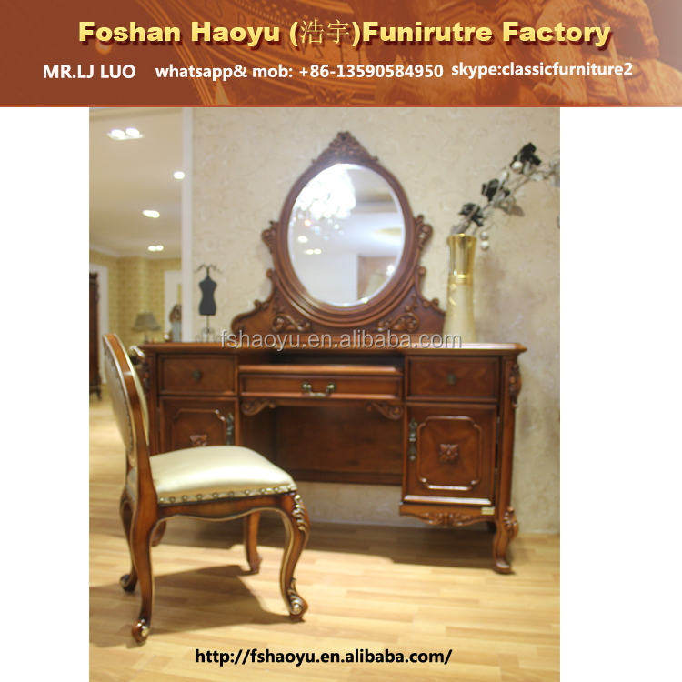 classic wooden dressing table with mirror and stool, wooden make up table