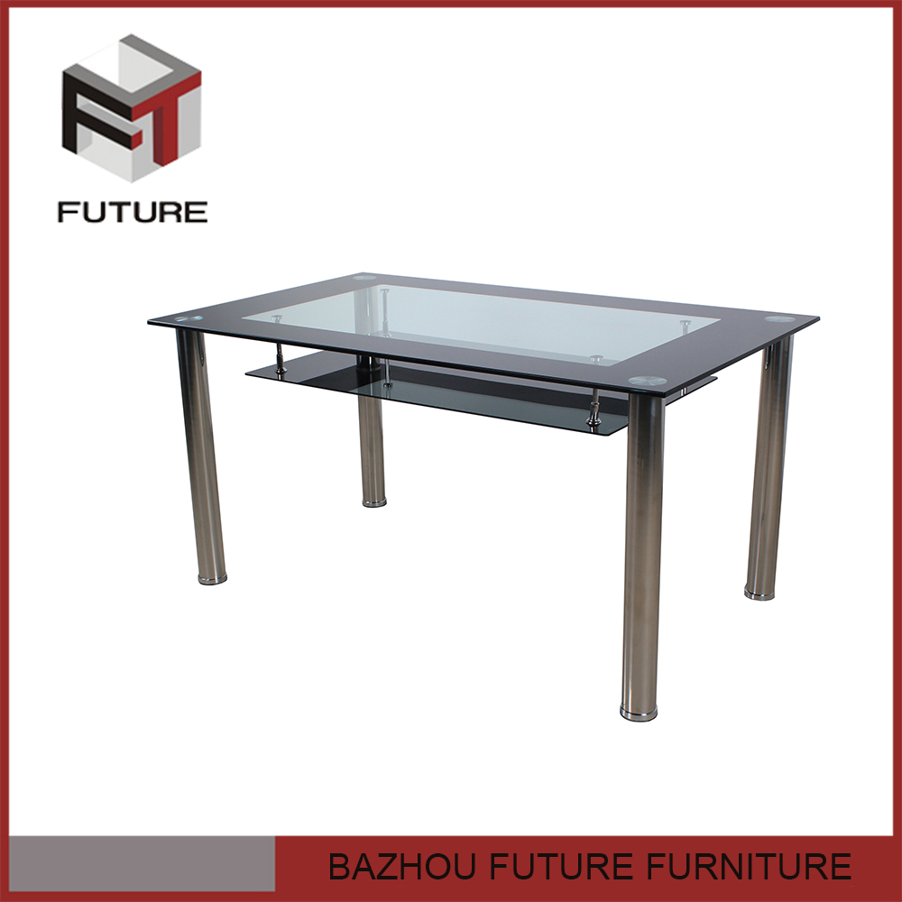 square stainless steel double layer glass dining table