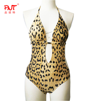 Explosion Models Leopard Pattern Swimsuit High Cut Brazilia Bandage Back Less Midriff Conjoined One Piece Sexy 2017 Swimwear