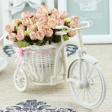Rattan Bike Vase with Silk flowers Colorful Mini Rose flower Bouquet Daisy Artificial Flores For Home Wedding Decoration