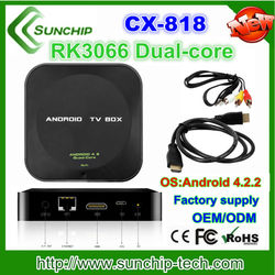 SUNCHIP CX-818 1G/4G android tv box xbmc preinstall Android 4.2.2 rk3066 Dual core android smart tv box