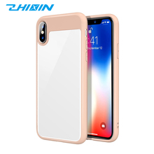Ultra slim crystal clear 2 in 1 tpu + pc rubber hybrid phone case cover for iphone X