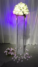 Arcylic wedding pillar and flower stand lead road for wedding decoration