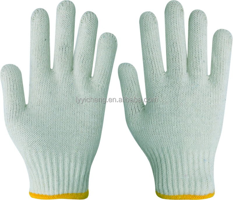 7/10 gauge white knitted cotton gloves manufacturer in china/various colors cotton gloves