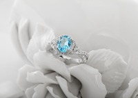 Exquisite 925 silver wedding oval shape sky blue topaz ring .natural gemstone ring