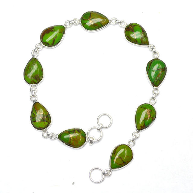 8.4 GM Green Copper Turquoise, Multi-Chain Quality Fashion Bracelet,Bead Brace Gem Stone 925 Sterling Original Silver Bracelet