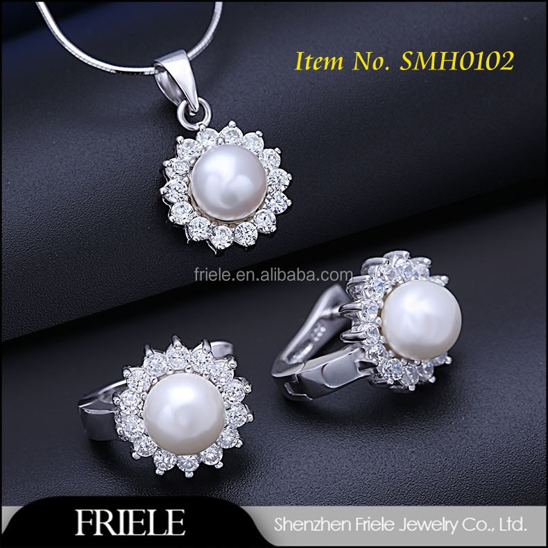2015 fashion pearl jewelry set 925 sun silver ring & pearl necklace