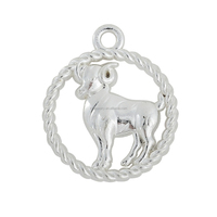 Yiwu Jewelry Wholesale Zinc Alloy Silver Circle Aries Zodiac Taurus Charms