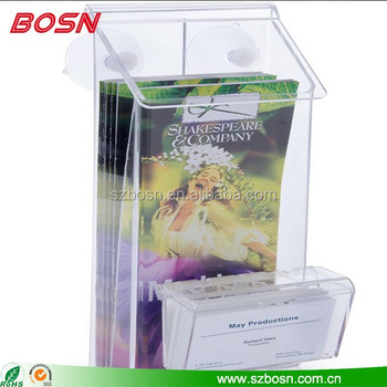 Clear Acrylic Outdoor Brochure Holder with Business Card Pocket, Business Card Display