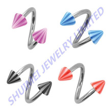 316L Surgical Steel Arcylic Spike Spiral Twist Barbell Ear Stud Lip Eyebrow Cartilage Ring Body Piercing Jewelry